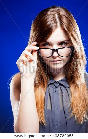 Strict Young Woman With Nerd Glasses