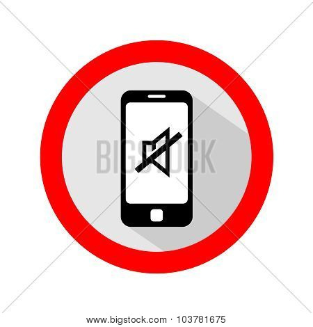 Mobile phone ringer volume mute round sign poster
