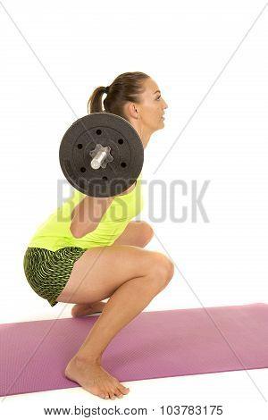 Woman Green Tank Top Fitness Squat Side Low