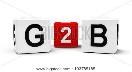 White and red cubes - government to business - isolated on white three-dimensional rendering poster