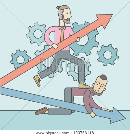A caucasian businessman stepping on the back of another businessman who is crouching on all fours on the floor. Rivalry concept. Vector line design illustration. Square layout.