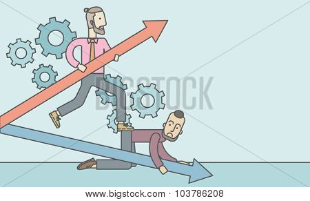 A caucasian businessman stepping on the back of another businessman who is crouching on all fours on the floor. Rivalry concept. Vector line design illustration. Horizontal layout with a text space.