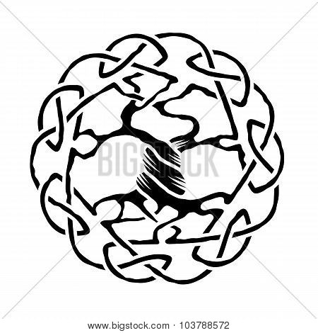 Illustration of celtic tree of life,  black and white version, vector illustration poster