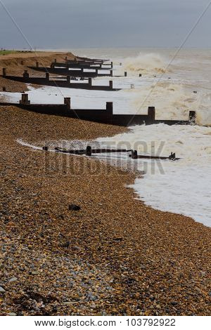 Stormy English Beach With Groynes