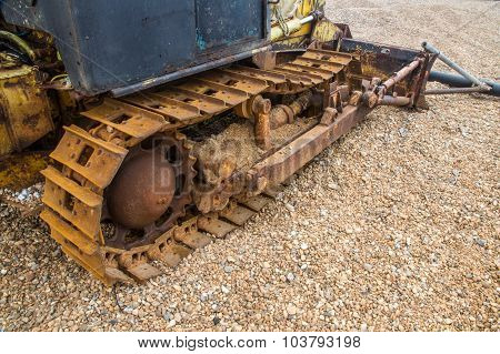 Continuous Track On Old Vehicle On Beach