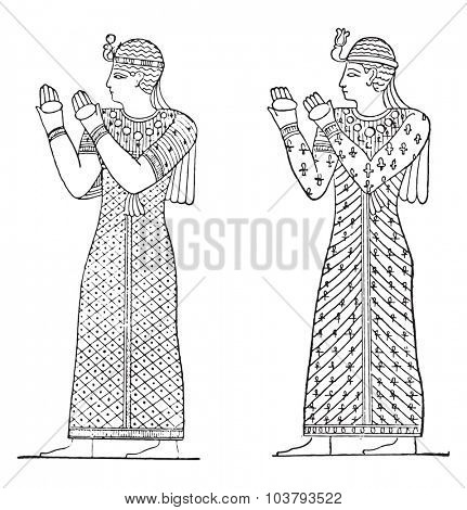 Egyptian drawings dresses with a warbling, vintage engraved illustration.