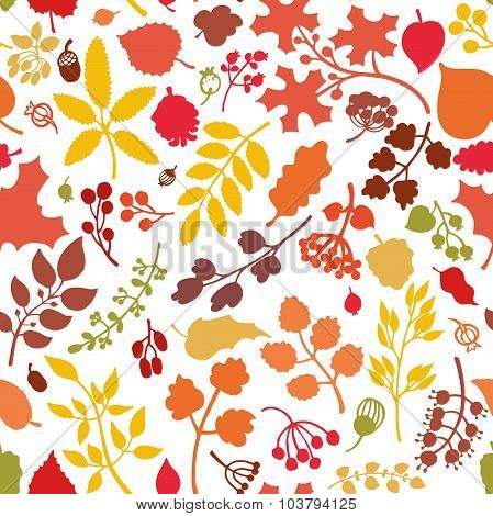 Autumn leaves,branches,berries seamless pattern.Fall silhouette