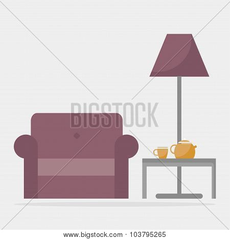 Armchair with coffee table and floor lamp. Modern living room interior.