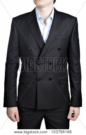 Double-breasted black men wedding Gentleman suit isolated over white. poster