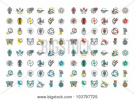 Flat line colorful icons collection of renewable energy