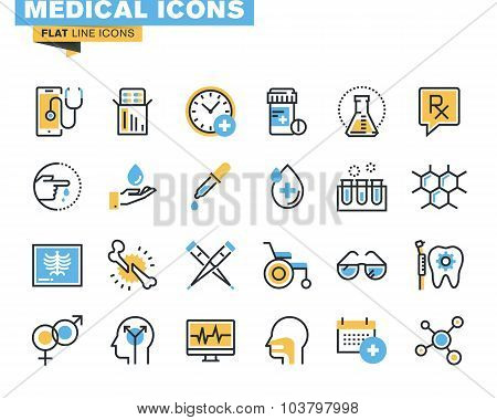 Flat line icons set of medical supplies
