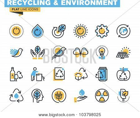 Flat line icons set of recycling theme