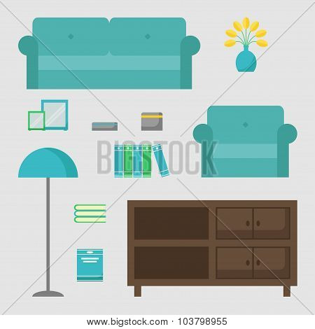 Living room isolated icons set.