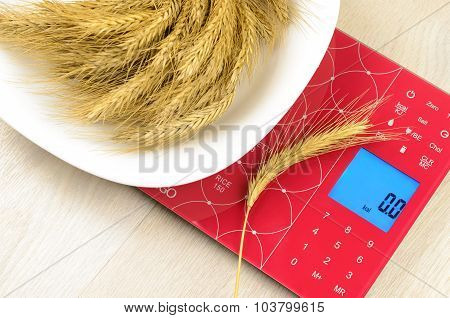 Dish Of Cereals On Electronic Kitchen Scales