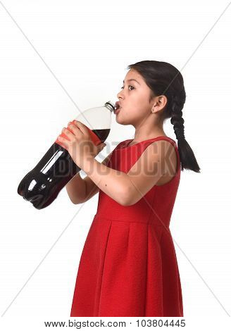 Happy Female Child Holding Big Soda Bottle Drinking In Sugar Drink Abuse