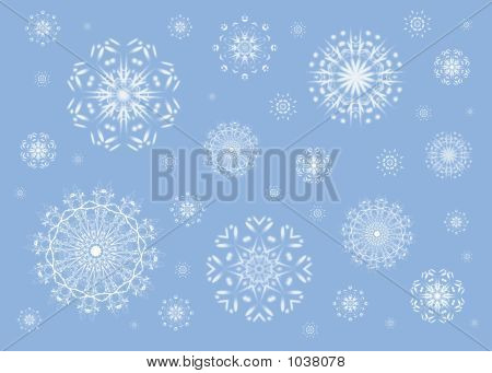 christmas pattern of snowflakes on blue background poster