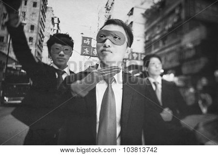Asian Business Superheros Aspiration Courage Concept poster