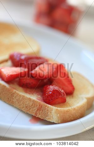 Breakfast toast and strawberries