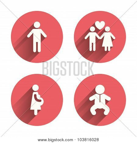 Family lifetime icons. Couple love, pregnancy and birth of a child symbols. Human male person sign. Pink circles flat buttons with shadow. Vector poster