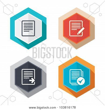 Hexagon buttons. File document icons. Download file symbol. Edit content with pencil sign. Select file with checkbox. Labels with shadow. Vector poster