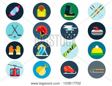 Winter sport vector icons set