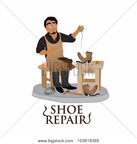 shoemaker, cobbler, shoe repair, work, flat vector illustration, banner, app