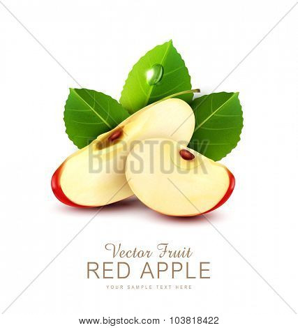 vector two slices of red apple with green leaf isolated on a white background