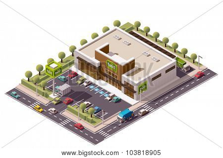 Vector isometric grocery store building