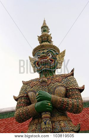 Giant Demon Guardian At Wat Phra Kaew,buddha, Bangkok, Thailand