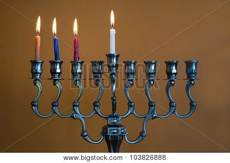 Hanukkah Menorah On The Third Day Of Hanukkah