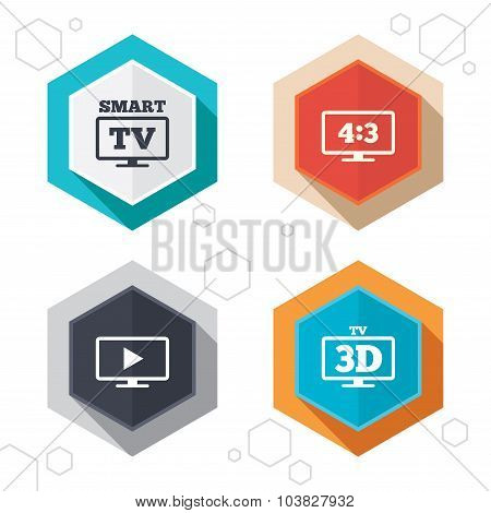 Hexagon buttons. Smart TV mode icon. Aspect ratio 4:3 widescreen symbol. 3D Television sign. Labels with shadow. Vector poster