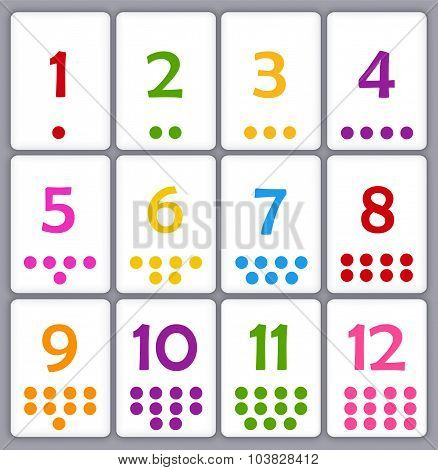 Printable flash card colletion for numbers with dots for preschool / kindergarten kids | let's learn colors poster