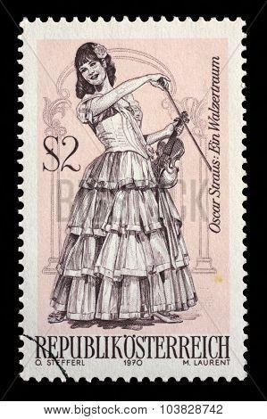 AUSTRIA - CIRCA 1970: A stamp printed in Austria, shows the operetta A Waltz Dream, by Oscar Straus, Famous Operettes series, circa 1970