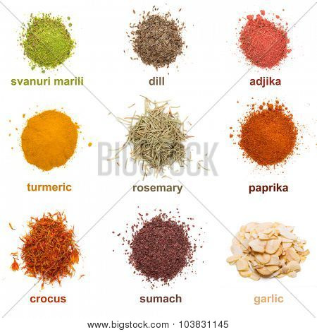 Heap ground Svanuri marili, dill seed, adjika, turmeric, rosemary, paprika, saffron, sumach and garlic isolated on white background poster