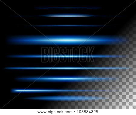 Abstract lights lines on transparent background vector illustration. Easy replace use to any image.