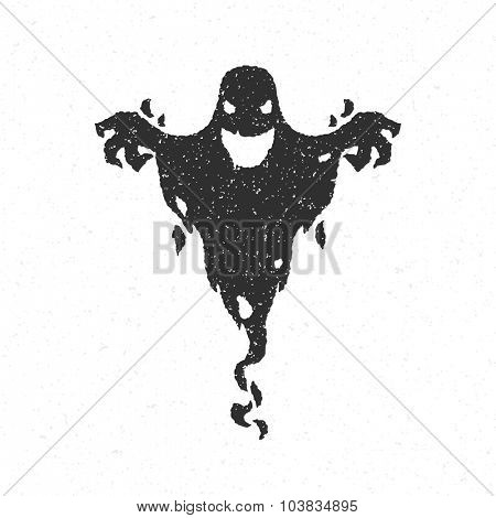 Halloween scary ghost isolated on white vector illustration