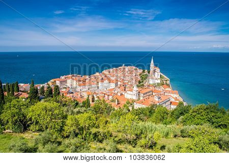 Panorama Of Beautiful Piran, Slovenia