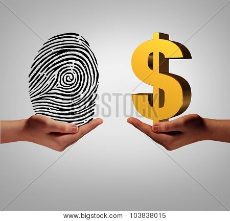 Personal data brokering business concept and buying and selling personal information as a hand holding a finger print and another person with a dollar symbol as a metaphor for a security identification access. poster
