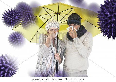 Couple sneezing in tissue while standing under umbrella against virus
