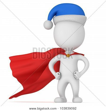 3D Man - Brave Superhero With Santa Claus Hat