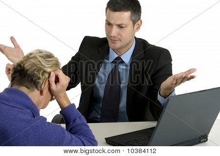 discussion at work  isolated on white background man and woman