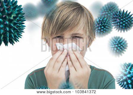 Sick little boy with a handkerchief against virus