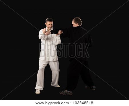 Karate fighters. Training fight.