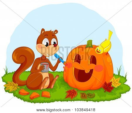 squirrel decorating pumpkin
