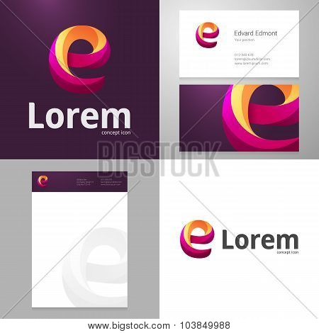 Design Icon E Element With Business Card And Paper Template