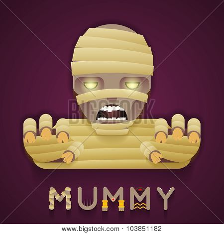 Halloween Party Mummy Role Character Bust Icon Stylish Background Flat Design Greeting Card Vector Illustration poster