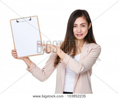 Businesswoman finger point to clipboard poster