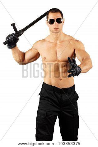 Crazy muscular man