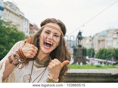Boho Woman Tourist On Wenceslas Square, Prague Showing Thumbs Up