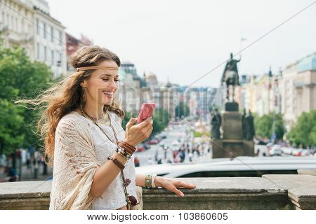 Trendy Hippie Woman With Mobile On Wenceslas Square, Prague